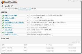 SiteGuardダッシュボード画面